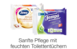 Entdecken Sie feuchtes Toilettenpapier von Zewa und Tempo