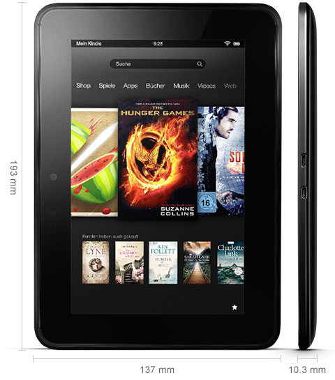 technical. V389714653  Kindle Fire HD, 17 cm (7 Zoll), Dolby Audio System, Dualband WLAN, 16 GB
