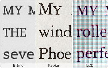 Klare und scharfe E Ink Schriften wie bei echtem Papier.