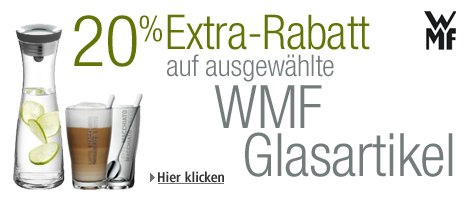 20% Extra-Rabatt auf ausgewählte Glasartikel von WMF z.B. WMF Wasserkaraffe Basic 1,0l ab 25 Euro, Caipirinha-Set ab 14 Euro uvm...