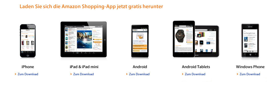 Amazon App fuer iPhone, Android Phone, iPad, Android Tablet und Windows Phone