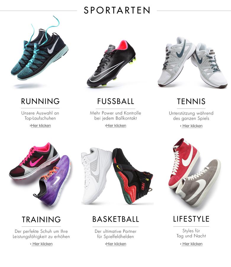 Nike Shop: Sportarten