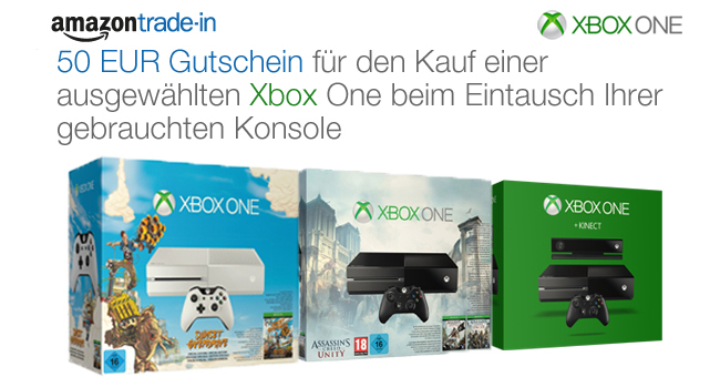 Xbox One Tauschaktion: 50 EUR Gutschein für den Kauf einer ausgewählten Xbox One beim Eintausch Ihrer gebrauchten Konsole