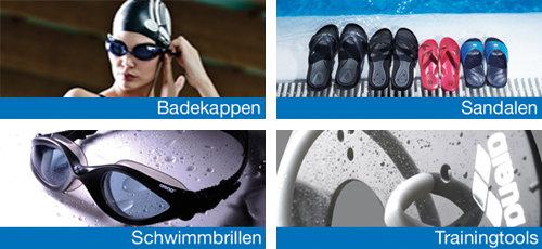 Arena Badekappen, Schwimmbrillen, Sandalen und Trainingstools