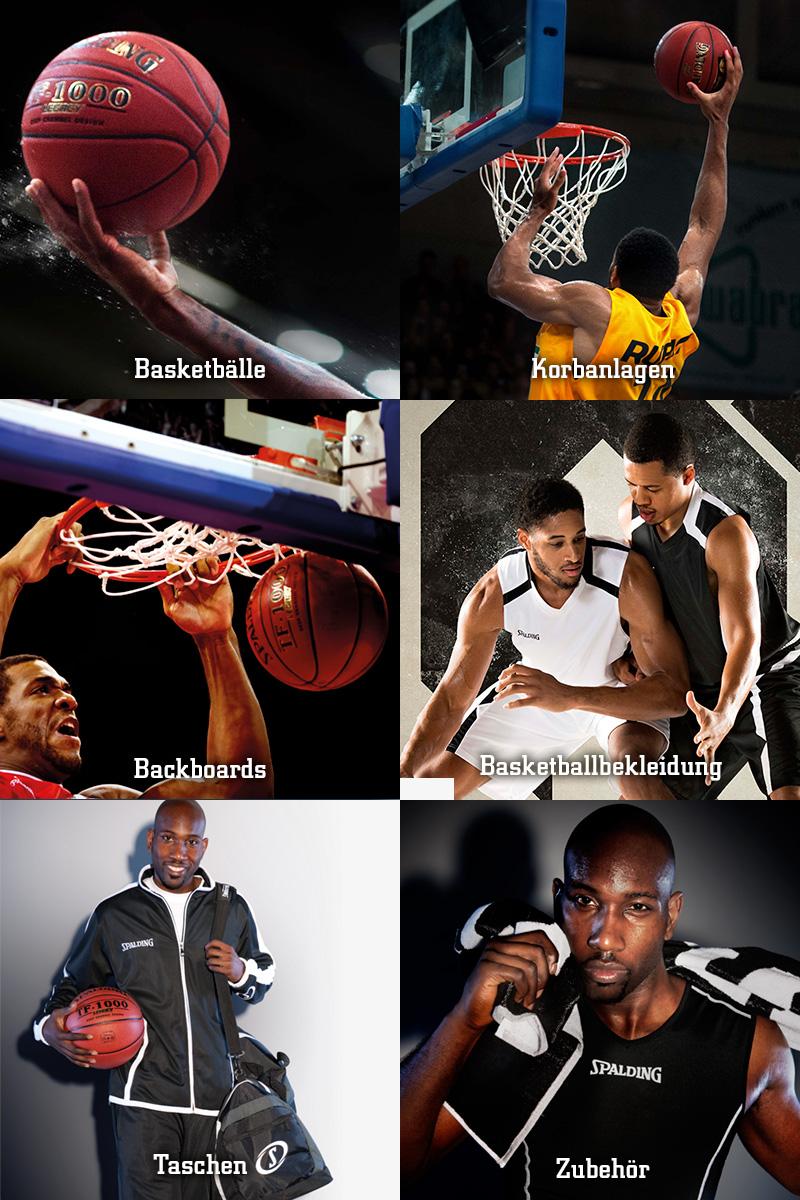 Spalding Basketbälle Korbanlagen Backboards Basketballbekleidung Taschen Zubehör