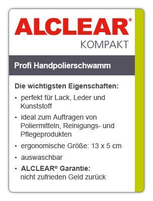 ALCLEAR 5713050M 2-er Set Profi Handpolierschwamm 130 x 50 mm mit umlaufender Griffleiste, blau