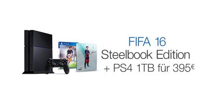 FIFA 16 Steelbook Edition + PS4 1TB für 399 EUR