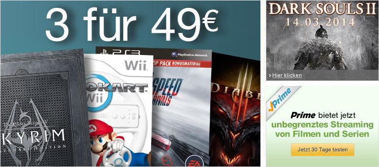 3 Games für 49 EUR, Dark Souls II, Prime Instant Video