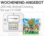 Wochenend-Angebot: Nintendo 2DS (weiß+rot) inklusive Animal Crossing (Limited Edition) für nur 111 EUR