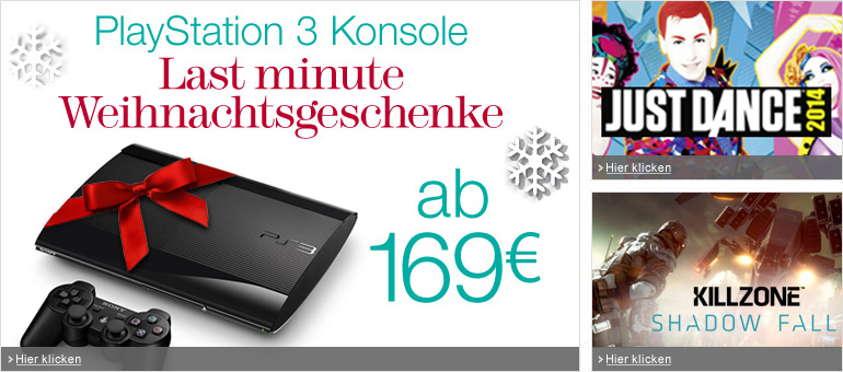PlayStation 3 Konsole ab 169 EUR, Just Dance 2014, Killzone: Shadow Fall