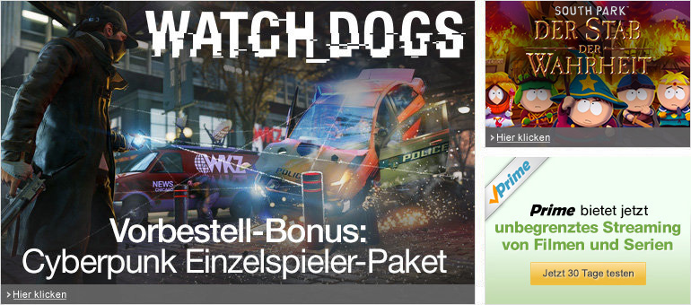 Watch_Dogs, South Park: Der Stab der Wahrheit, Prime Instant Video