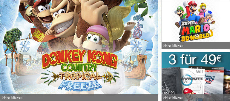 Donkey Kong Country: Tropical Freeze, Super Mario 3D World, Rayman Legends
