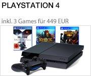 PS4 Konsole inkl. 3 Games für nur 449 EUR