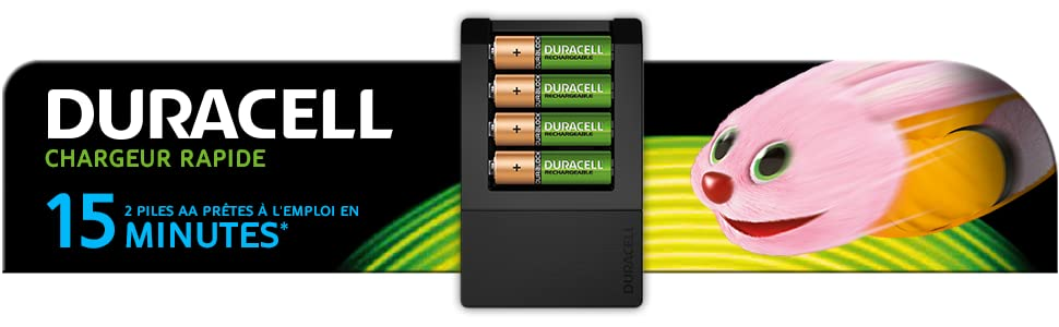 Duracell - Chargeur rapide - 15 minutes + 4 AA 1300mAh