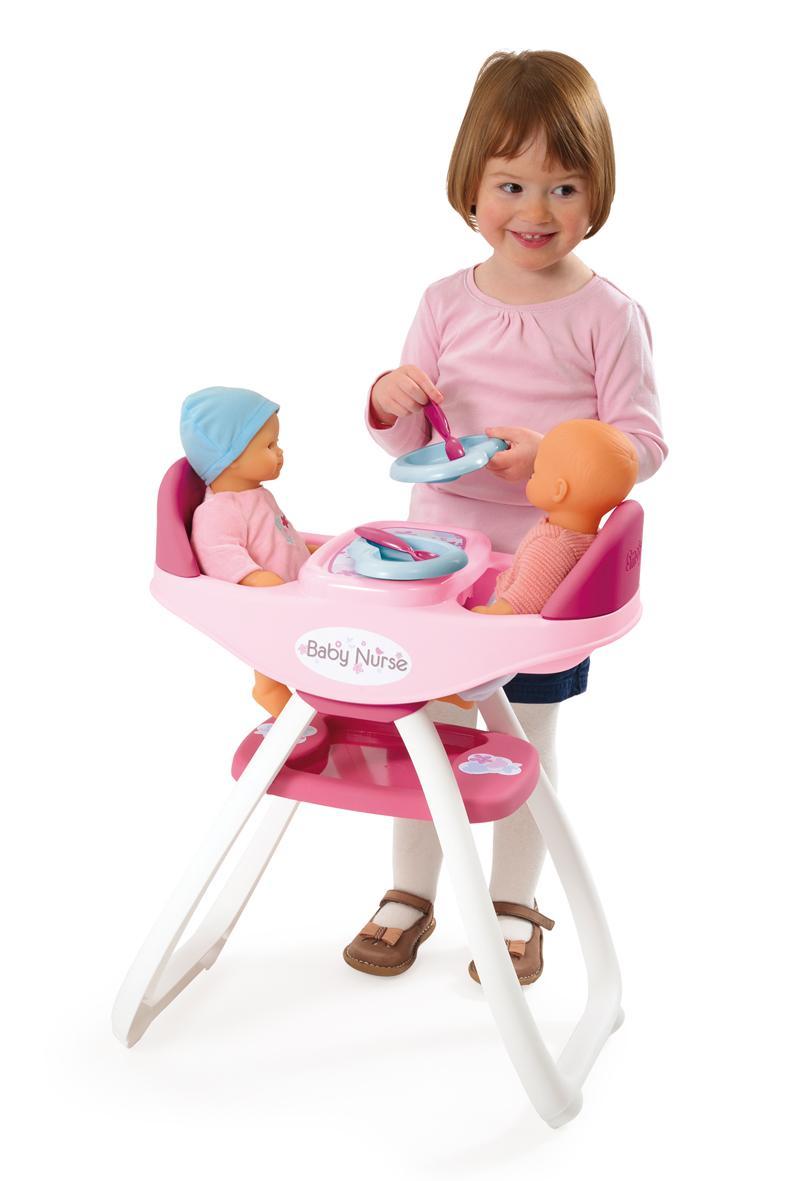 Smoby 7 024218 poup e baby nurse chaise haute jumeau for Chaise haute smoby 3 en 1