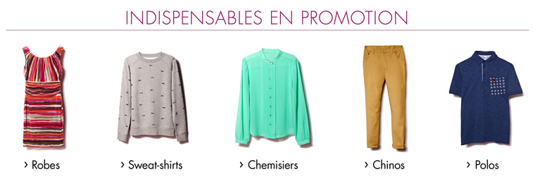 Promotions vêtements - Les indispensables