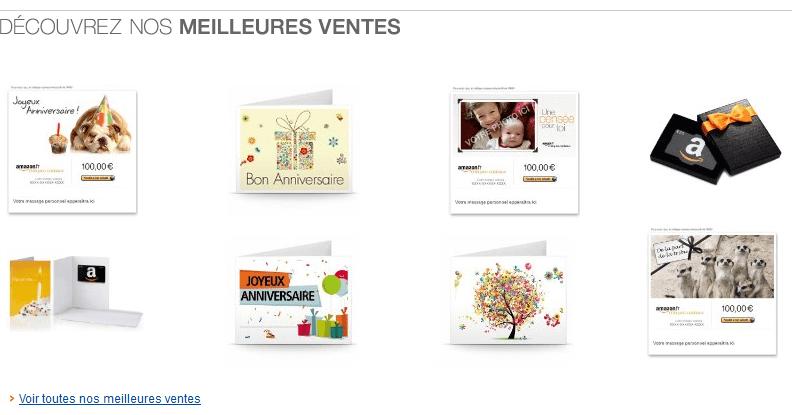 Meilleures ventes chèques-cadeaux Amazon.fr