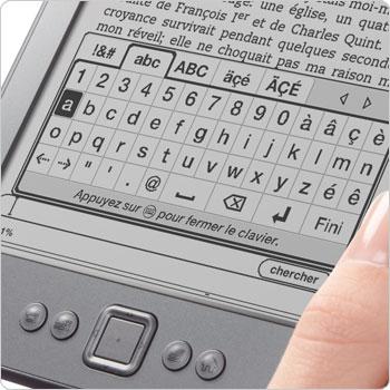 Le clavier s'affichant sur l'�cran de la liseuse Kindle