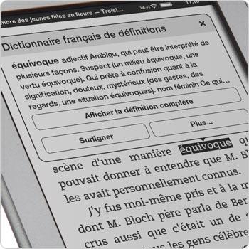 Le dictionnaire sur la liseuse Kindle Touch. Recherchez la définition des mots avec le dictionnaire intégré.