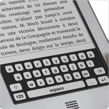 Liseuse Kindle Touch montrant le clavier tactile qui apparat sur l'cran