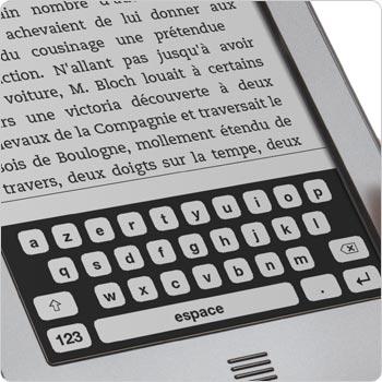 Liseuse Kindle Touch montrant le clavier tactile qui apparaît sur l'écran