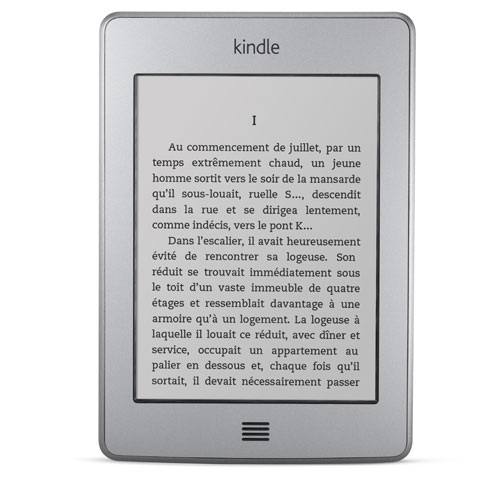 Liseuse Kindle Touch : l'appareil vu de face