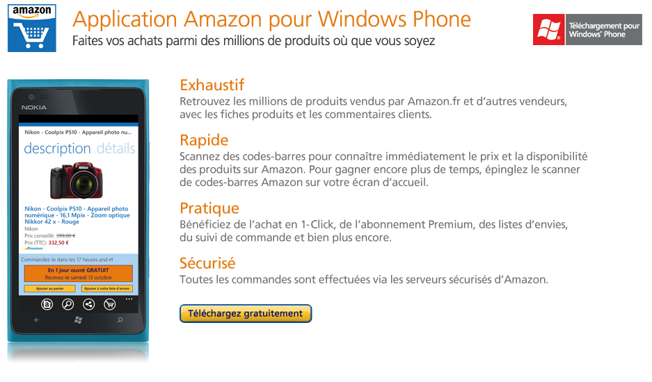 T�l�chargez gratuitement l'application Amazon Mobile pour Windows Phone