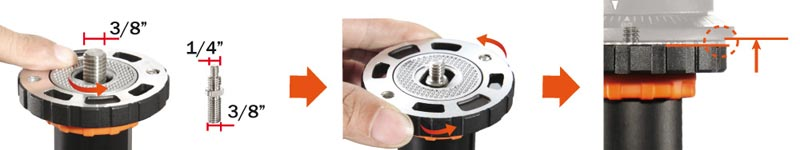 Innovative locking camera screw wheel (Screw adapt from 1/4