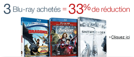 3 Blu-ray achet�s = 33% de r�duction