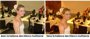 La balance des blancs multizone capture la couleur naturelle des scènes éclairées par plusieurs sources lumineuses