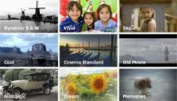 Faites votre choix parmi les 9 filtres effet Cinéma pour un rendu unique de vos
