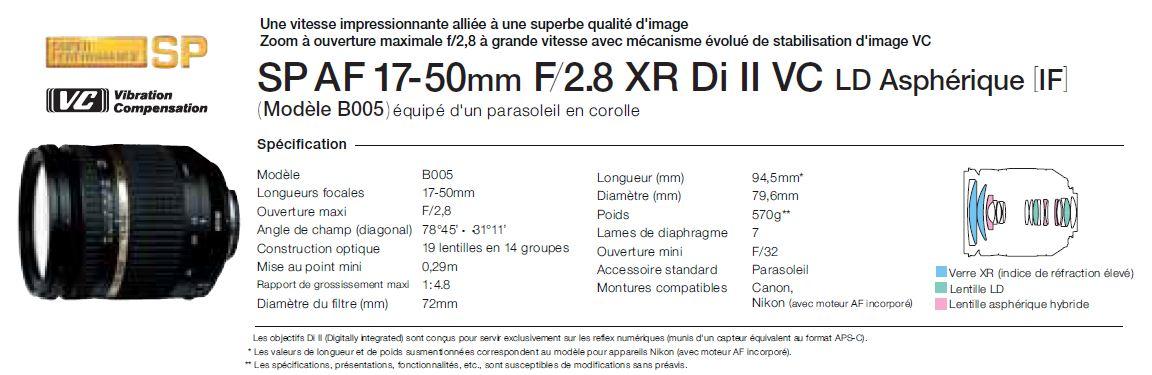 Objectif lumineux SP AF 17-50mm / 2,8 XR Di II VC