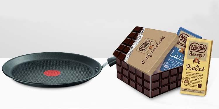 Une boite Nestlé Dessert collector offerte + deux tablettes de chocolat dès 20€ d'achat de produits Tefal