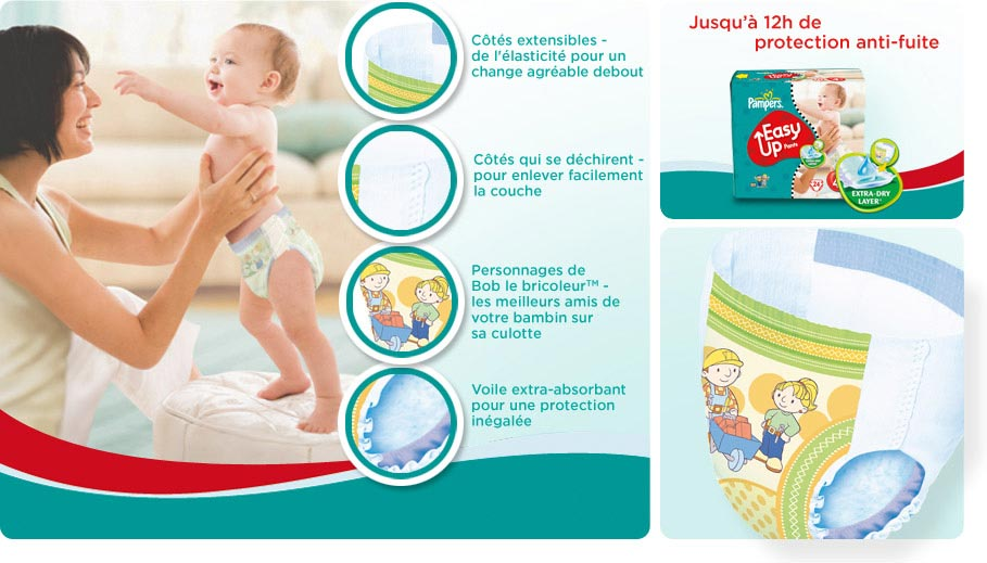 Pampers 81143225 easy up couches culottes taille 4 maxi 8 15 kg jumbopack 2 x 60 120 - Couche bebe pour piscine pampers ...