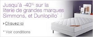 Jusqu'� -40% sur les matelas simmons, Dunlopillo et Relaxima
