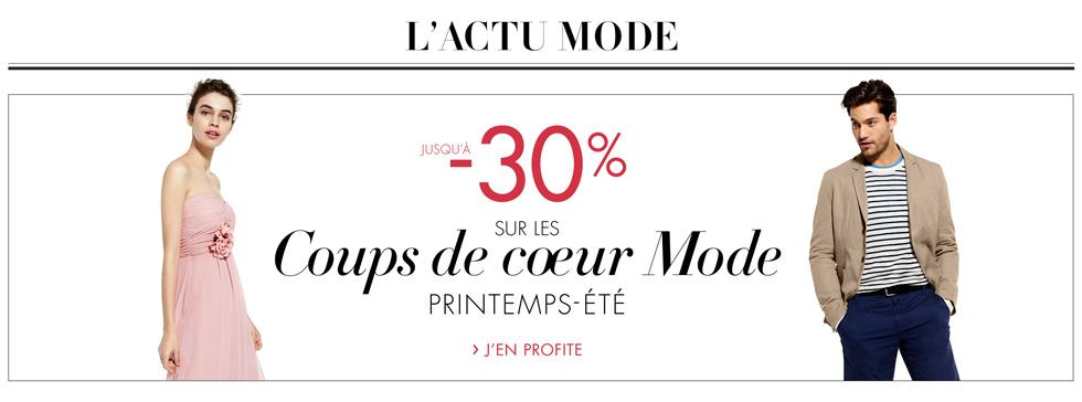 Promotion Mode jusqu'à -30% sur la collection printemps-été