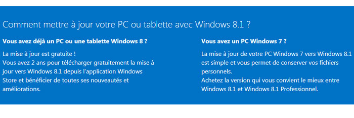 Comparatif Windows 8.1 Standard et Pro
