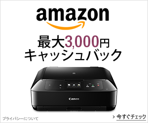 Canon PIXUS 最大3,000円キャッシュバック