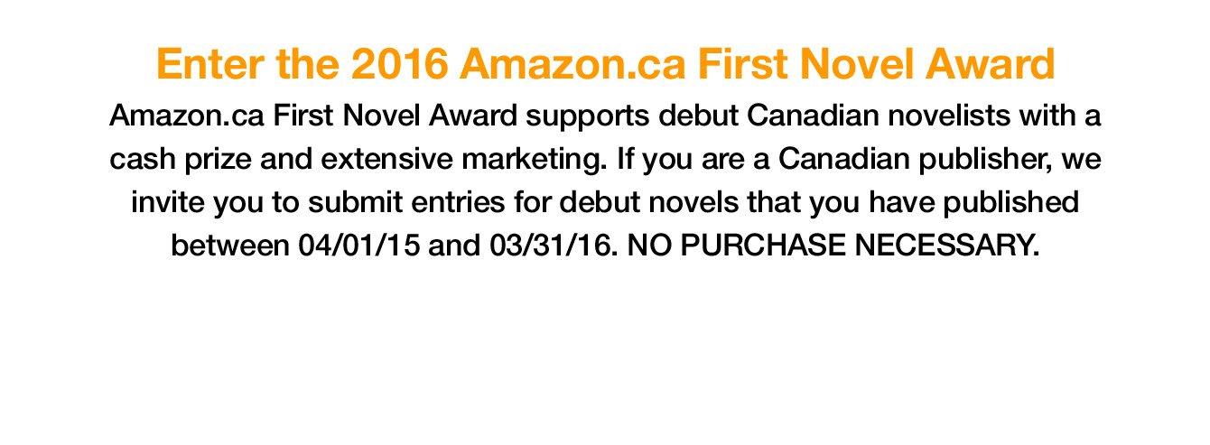 Enter the 2016 Amazon.ca First Novel Award