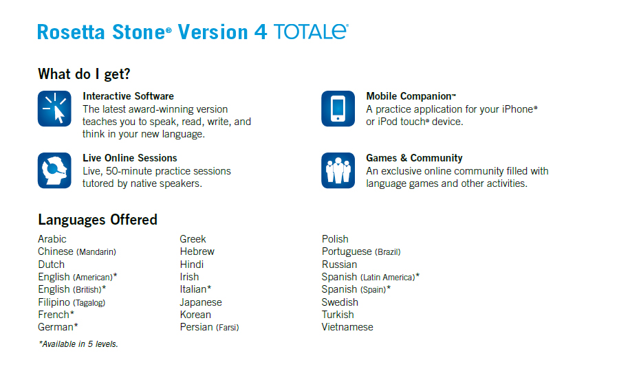 Rosetta Stone TOTALe: What Do I Get?