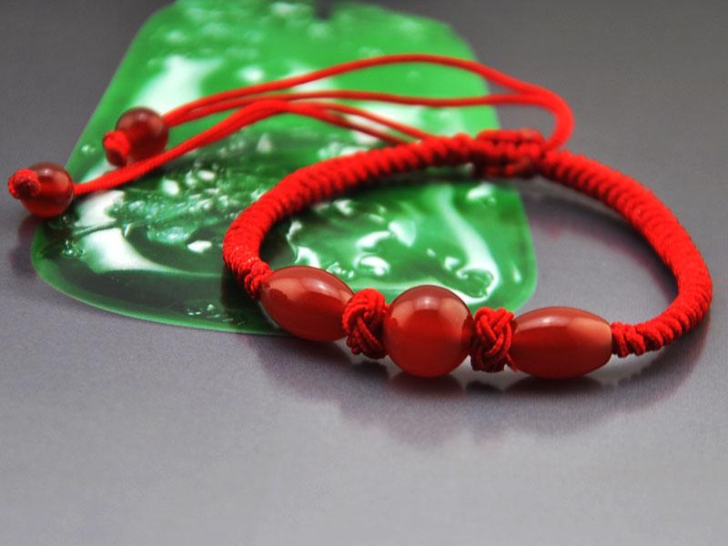 同心结 红绳diy手编5a级天然红玛瑙手链