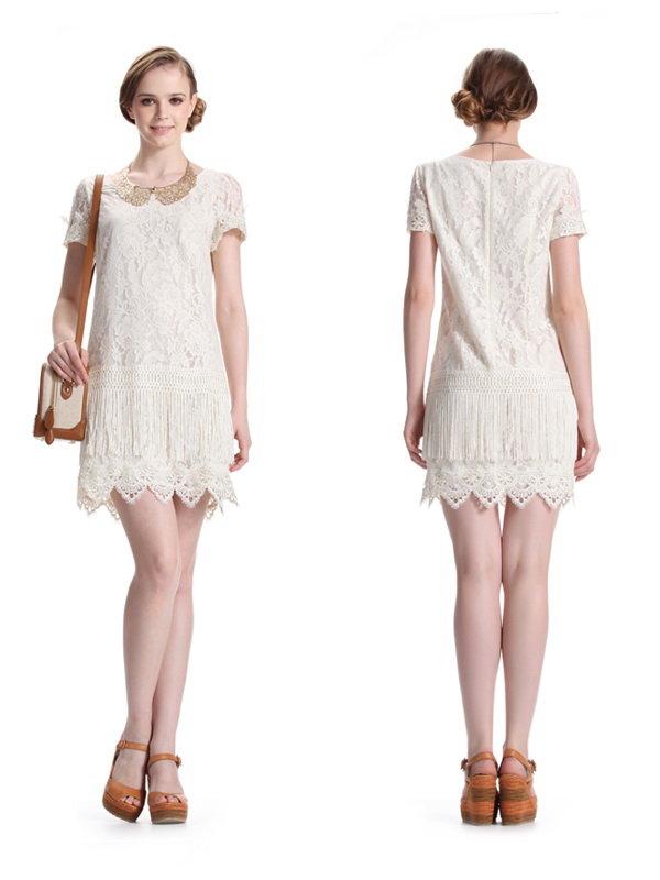 蕾丝流苏连衣裙