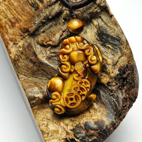 金石为开 天然黄虎眼石貔貅吊坠 男女同款