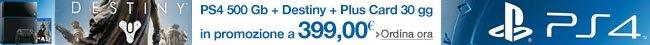 PlayStation 4: Console 500GB B Chassis + Destiny [Bundle] + Plus Card 30 gg