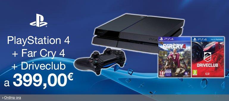 Ordina ora PlayStation 4 + Far Cry 4 + Driveclub [Bundle] a 399,00 EUR