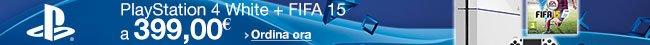 Ordina ora PlayStation 4 White + FIFA 15 [Bundle] a 399,00 EUR
