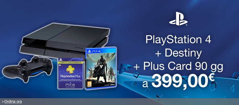 Ordina ora PlayStation 4 + Destiny + Plus Card 90 gg [Bundle]