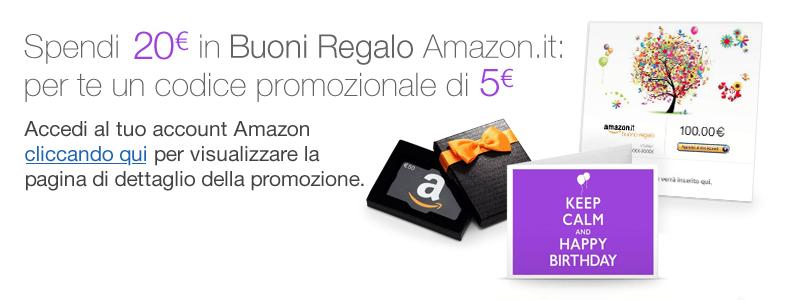 Guadagno e omaggi in rete amazon codice promozionale da 5 for Codici regalo amazon gratis