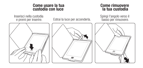Usare una Custodia Amazon in pelle con luce per Kindle Touch