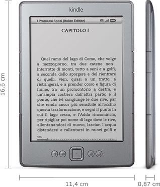 Dispositivo di lettura Kindle: 16,6 cm x 11,4 cm x 0,87 cm